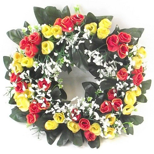 Couronne de roses artificielles de couleur orange et jaune - Couronne de bougie pour intérieur et extérieur - Convient pour une décoration d'intérieur, un mariage ou une tombe