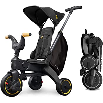 LFFCC Kids Foldable Trike, 4-in-1 Baby Tricycle, Steer Stroller, Learning Trike Push Trike with Adjustable Push Handle, Fit for Kids of 1-3 Years Old,Black