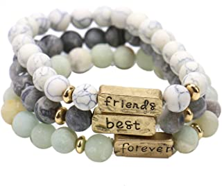 JETEHO Pack of 3 Inspirational Friendship Bracelets - Best Friends Forever Bracelets for 3