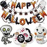 KOUQI Trajes De Globos para Fiestas Decorando Esqueletos, Banderas, Espirales, Globos Colgantes Halloween Black Orange Letter Set