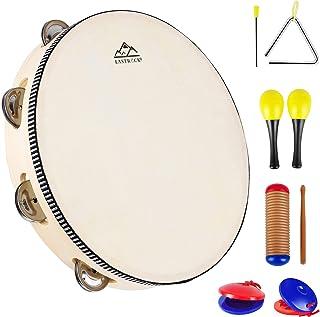 EASTROCK Tambourines 10 Inch Hand Held Tambourine Drum Wood Tambourine Metal Jingles Percussion Single Row Hand Tambourine for Kids KTV Party