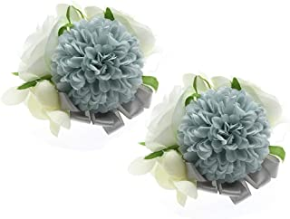 Febou Wrist Corsage 2 Packs Wedding Bridal Wrist Flower Wristband Hand Flower for Bride Bridesmaid Perfect for Wedding, Prom, Party (Wrist Flower, M-Gray)