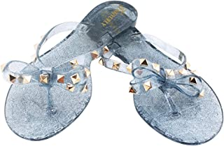 2230a5f0923e76 TENGYUFLY Womens Rivets Bowtie Flip Flops Jelly Thong Sandal Rubber Flat  Summer Beach Rain Shoes