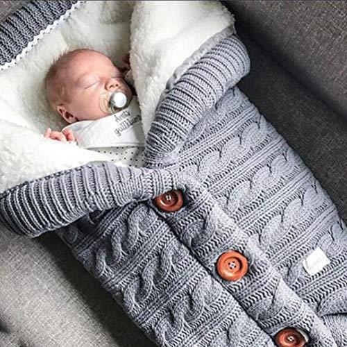 RSTJ-Sjap 400G Außen Buttoned Baby Gestrickter Schlafsack Herbst/Winter Kinderwagen Schlafsack Wolle Und Samt Padded Quilt Baby-Liebling,Style 01