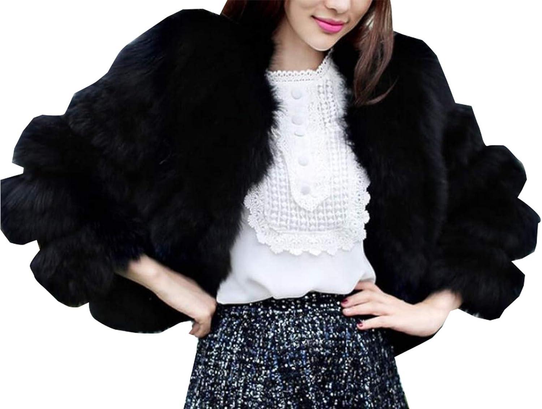 LEISHOP Women's Vintage Shaggy Faux Fur Coat Solid color Long Sleeve Short Jacket