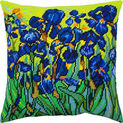 Irises by Vincent Van Gogh. Needlepoint Kit. Throw Pillow 16×16 Inches. Printed Tapestry Canvas, European Quality