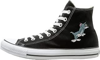 Shenigon Cartoon Cat Canvas Shoes High Top Casual Black Sneakers Unisex Style