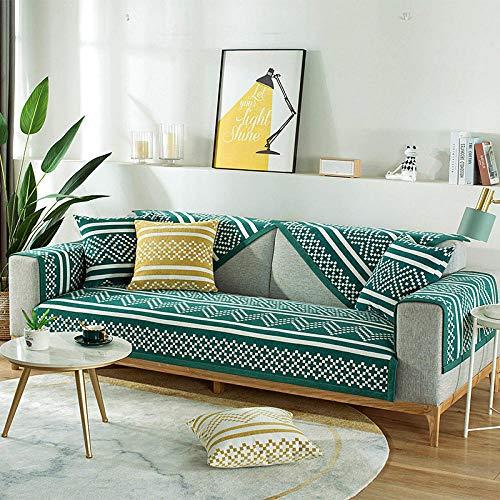 B/H Fundas de sofá de Esquina,Funda de sofá de Tela a la Moda, Funda de sofá Universal-Green_110 * 160cm,Asiento Antideslizante sofá Funda Tejido