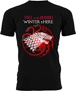 Tshirt Game of Thrones Fire And Blood Winter is Here - Fusion - Stark - Targaryen - Il Trono di Spade - Serie TV