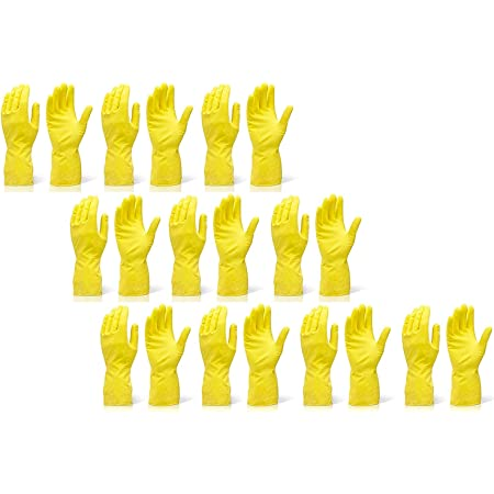 Cleaning Gloves Reusable Rubber Hand Gloves, Stretchable Gloves for Washing Cleaning Kitchen Garden (Yellow,10 Pair)