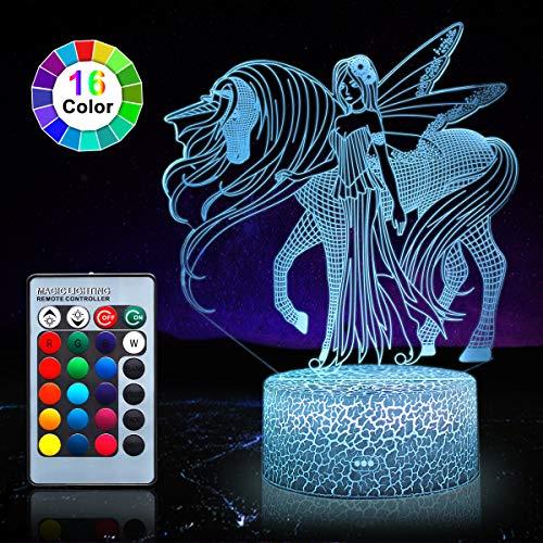 Lumbarl Nachtlicht für Kinder, Einhornkopf, LED-Nachtlicht, 7 Farben, Tischlampe, Jungen, Schlafzimmer, Lichter mit USB-Stromkabel, Fernbedienung, Geburtstagsgeschenk