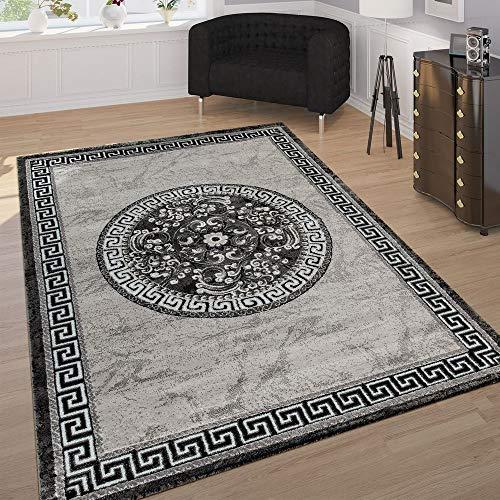 Paco Home Designer Teppich Mit Glitzergarn Klassische Ornamente Bordüre Grau Schwarz Weiß, Grösse:80x150 cm
