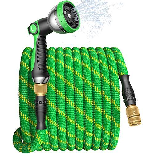 Tubo Estensibile da Giardino 15 Metri,Tubo Acqua Giardino Flessibile con Ugello Spruzzatore Alta Pressione a 10 Funzioni, Connessioni in Ottone Massiccio Tenuta Stagna per Irrigazione e Lavare Auto