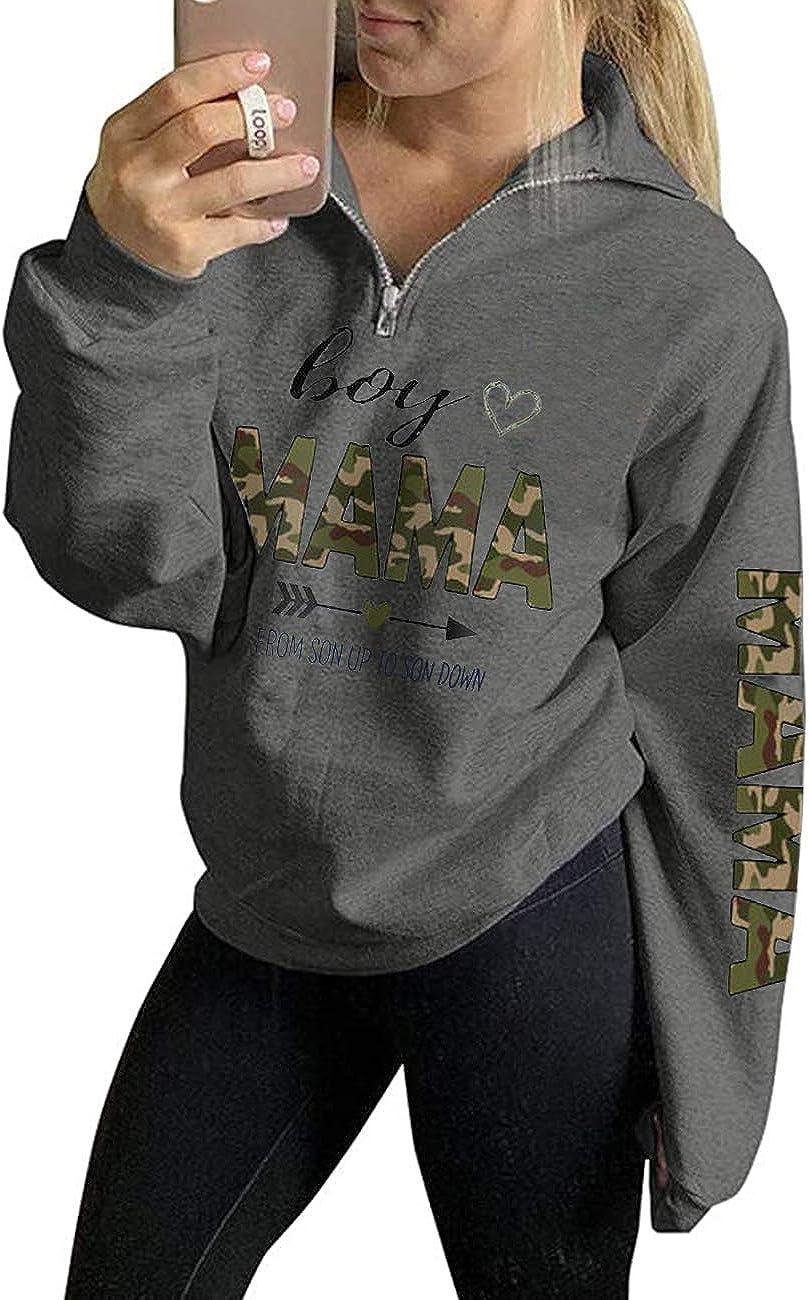Women's Mama Life Sweatshirt Long Sleeve 1/4 Zipper Pullover Sweater High Collar Tunic Tops Outwear