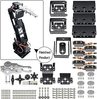 Aideepen 6DOF Aluminium Robot Arm Mechanical Robotic Clamp Black Claw Kit with 6 MG996R Servos and 6 Servo Horns