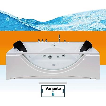 Jet Line Whirlpool Bathtub Villa Eugenie Ii Led Special Model Nozzles Complete Interior Illuminated Bath Luxury Spa White Hand Shower Fitting Headrest Radio Heating Full Equipment Xxl Küche Haushalt