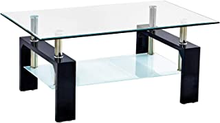 Trustiwood Rectangular Tempered Glass Coffee Table Tea Tale Wood and Chrome End Side Table with 2-Tier Shelf Suit for Living Room Office Modern Home Furniture Black