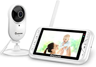 """WOHOME LY-135 Video Baby Monitor with Camera and Audio 5"""" HD 720P Display 900ft Range, Tem/sound alert,2-Way Talk, One-Click Zoom, Thermal Monitor and Night Vision ,Wall Mount kit"""