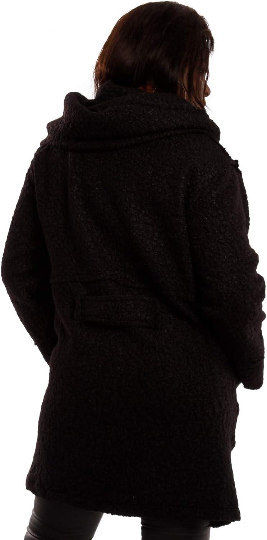 Damen Oversized Jacke Herbst Winter Mantel mit Schalkapuze Brit-Chic Kurzmantel Plus Size Schwarz