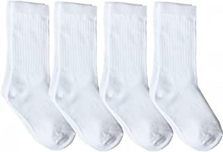 4 Pack of Mid-Calf Ribbed Socks with Arch Support for School Uniform, Sports, AFO