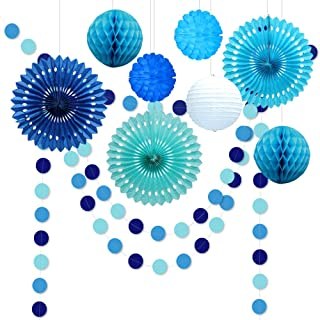 10pcs Under The Sea Theme Blue Party Decorations Kit Boy Birthday Circle Banner Garlands Bunting Paper Fan Flower Pom Poms Decoration/Event Celebration Hanging Decor for Baby Shower/Wedding/Kids Room