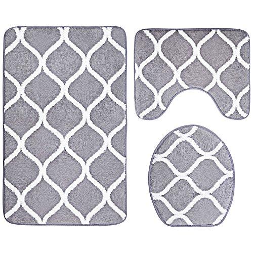 Over the Floor Juego de alfombrillas de baño de 3 piezas, extra suave, espuma viscoelástica, alfombra de contorno y cubierta de tapa (gris)