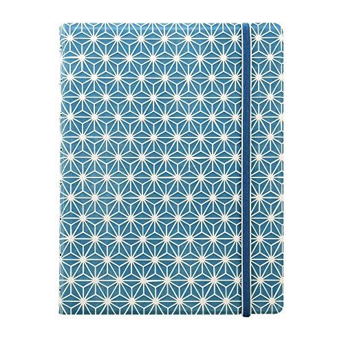 FILOFAX Impressions B115039U Notizbuch, A5, 21 x 12,7 cm, Blau und Weiß, 112 cremefarbene bewegliche Seiten, Index, Tasche und Lesezeichen