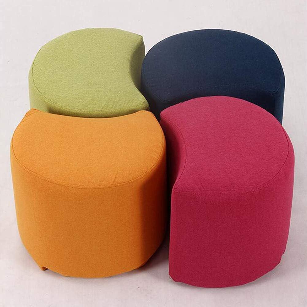 WY Lune Forme Tabouret Ottomans Salle chaussures Banc Cube Mode chaud à haute densité éponge coton résistant à l'usure (Color : Gray) Rose Red