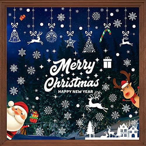 197 adesivi per finestre di Natale, fiocchi di neve, renna, Babbo Natale, riutilizzabili, in PVC, per decorazioni invernali in vetro, 9 fogli