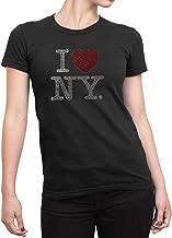 I Love NY New York Womens T-Shirt Ladies Rhinestone Tee Heart Black