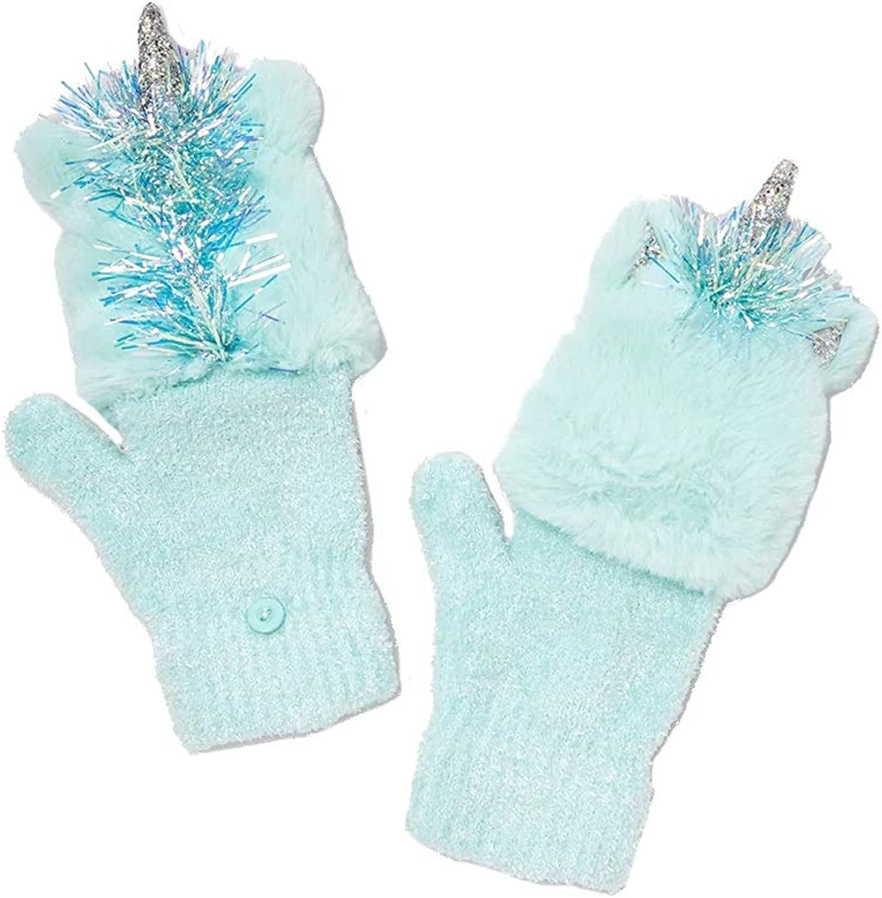 NWT Justice For Girls Aqua Unicorn Flip Top 2 in 1 Knit Gloves