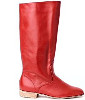 Red leather boots men dance shoes Russian boots dancing