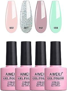 AIMEILI Soak Off UV LED Gel Nail Polish Multicolor/Mix Color/Combo Color Set Of 4pcs X 10ml - Kit Set 2