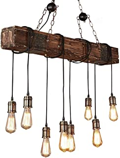 KJLARS Farmhouse Chandelier Wood Hanging Industrial Pendant Lighting Vintage Ceiling Light Fixture 8 Light for Pool Table Kitchen Island Bar Retro Hanging Lamp