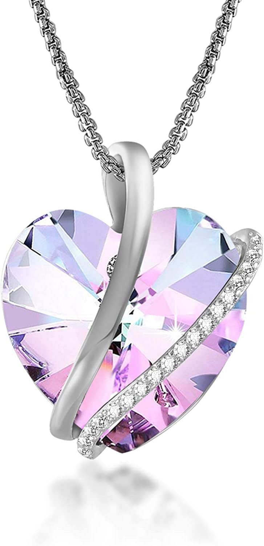 GEORGE · SMITH ❤ Love Echo - Pulsera de corazón de cristal azul púrpura ajustable de 7 pulgadas para mujer, pulseras de plata, aniversario, día de la madre, regalos de cumpleaños para mujer y niña