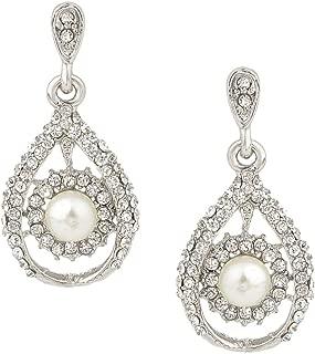 Austrian Crystal Simulated Pearl Bridal Tear Drop Dangle Earrings Clear