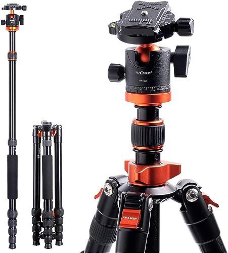 "Camera Tripod, K&F Concept 67"" Aluminum Tripod Monopod with 360 Degree Ball Head, 1/4"" Quick Release Plate and Carryi..."