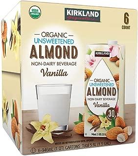 Kirkland Signature Organic Non-Dairy Unsweetened Vanilla Almond Beverage Cartons: 12 ct. (32 fl. oz)