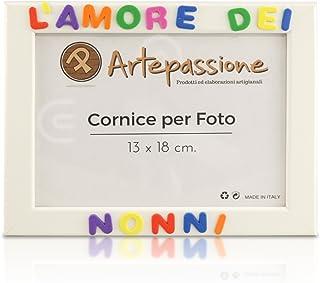 Cornici per foto in legno con la scritta L'Amore Dei Nonni, da appoggiare o appendere, misura 13x18 cm Bianca. Ideale per ...