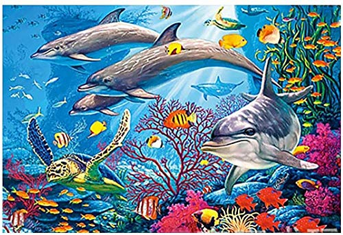 Puzzel Volwassenen Kinderen Puzzels, Volwassenen Diy Dieren Landschap Patroon Foto Puzzels Home Game 1000 Stuks De Onderwaterwereld Aquarium Dolfijn