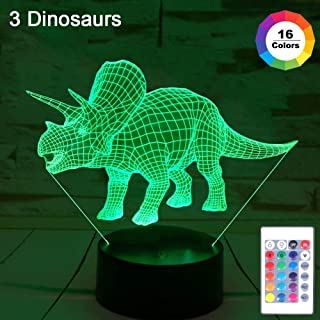 JUOIFIP Dinosaur Night Light for Kids(3 Dinosaurs), with Remote & Smart Touch 7 Colors + 16 Colors Changing Dimmable Dinosaur Toys Birthday (Rex, Triceratops, Brontosaurus)