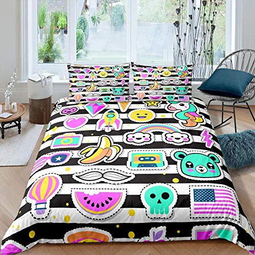 Ahooseso 3D Bedding Set - Printed Quilt Cover Colorful Watermelon Flag Bear Animal 135 X 200 Cm With Zipper Closure + Pillowcases Microfiber Duvet Cover Set Easy Care For Children Teen Adult Single