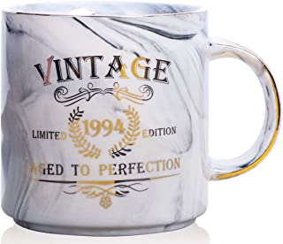 1994 25th Birthday Gifts for Women and Men Ceramic Mug - Funny Vintage 1994 Aged To Perfection - Anniversary Gift Idea for Him, Her, Mom, Dad Husband or Wife - Ceramic Marble Cups 13 oz (Grey)