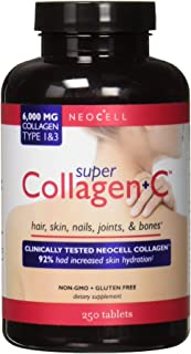 NeoCell Super Collagen + C – 6,000mg Collagen Types 1 & 3 Plus Vitamin C - 250 Tablets
