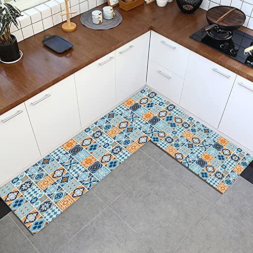 SunYe Alfombra Europea Retro Impresa Azul Alfombra De Cocina Floral Roja Alfombra De Piso Rectangular Antideslizante Absorbente Adecuada para Cocina Entrada del Hogar
