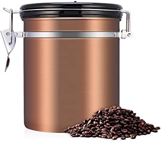 Fdit Stainless Steel Coffee Tea Beans Container with Venting Valve Total Protection from Oxidation(Gold)