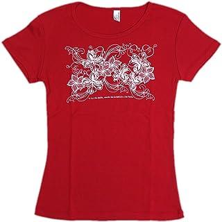 (ムームーママ) MuuMuuMama フライスTシャツ ハイビスカス&プルメリア 赤×白