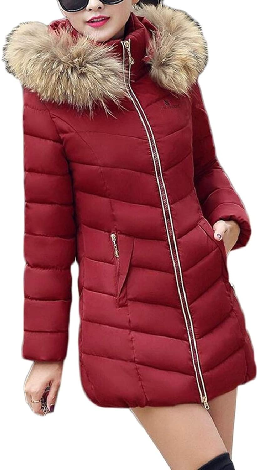 TymhgtCA Women Winter Puffer Jacket Faux Fur Hood Fashion Warm Thicken Coat