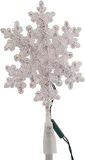 Kurt Adler UL 10-Light LED Snowflake Treetop, White/Blue