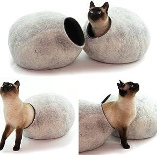 猫ベッド、ペットハウス、洞穴、うたた寝用の繭(コクーン)、100%ウールの100%ハンドメイド、Kivikis製 スノーホワイト色 [並行輸入品]